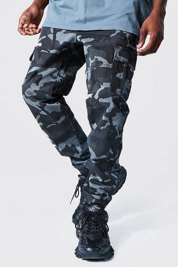 Grey Regular Fit Twill Camo Cargo Trouser
