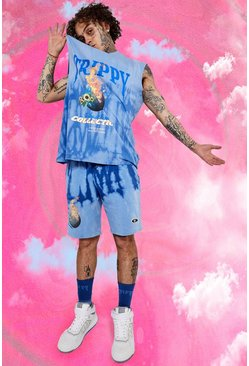 Blue Regular Fit Trippy Flame Tie Dye Jersey Short