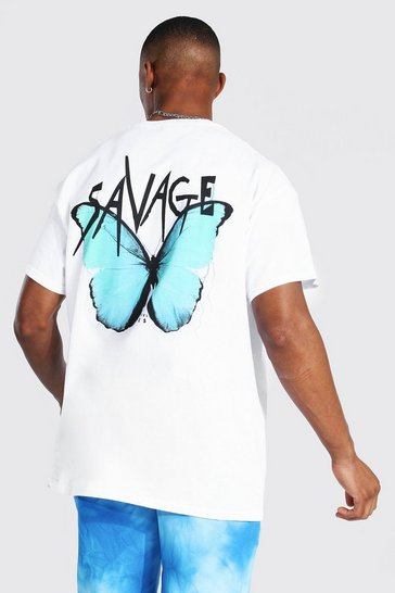White Oversized Butterfly Print T-shirt