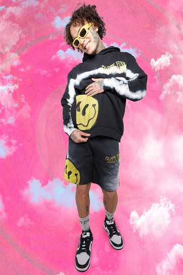 Black Regular Fit Drip Face Tie Dye Jersey Shorts