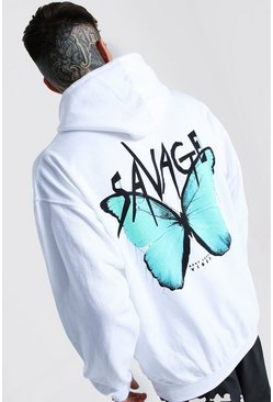 White Oversized Butterfly Back Print Hoodie