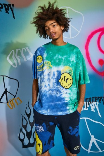 Blue Oversized Trippy Drip Face Tie Dye T-shirt