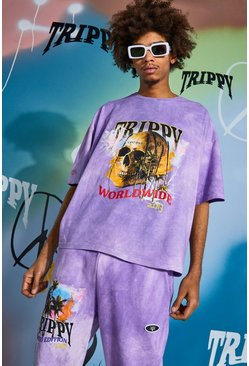 Purple Oversized Skull Tour Print Tie Dye T-shirt