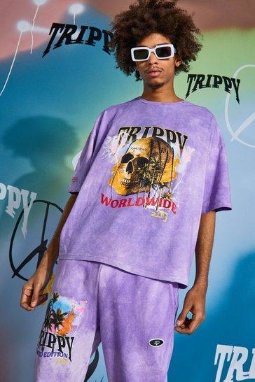 Purple Oversized Skull Tour Print Tie Dye T-shirt