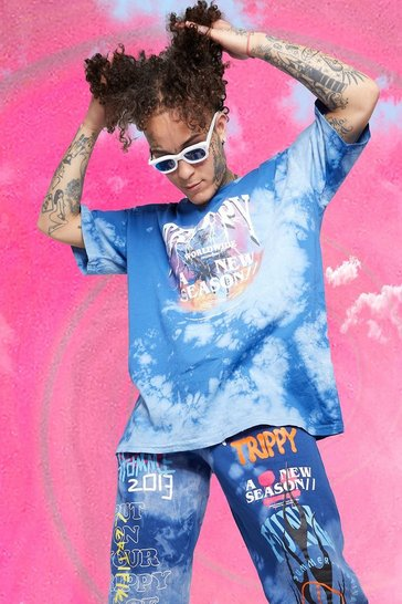 Blue Oversized Trippy Tour Tie Dye T-shirt