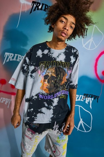 Black Oversized Skull Tour Print Tie Dye T-shirt