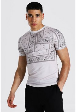 Sage green Muscle Fit Man Bandana Print T-shirt