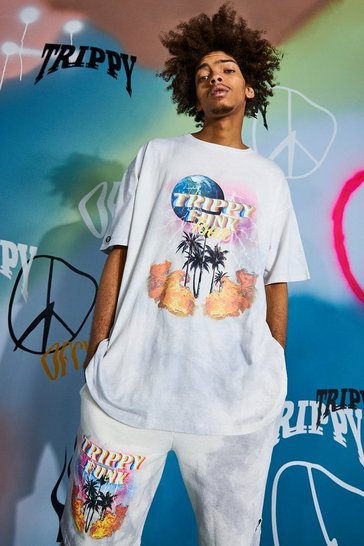 Grey Oversized Trippy Palm Graphic Washed T-shirt