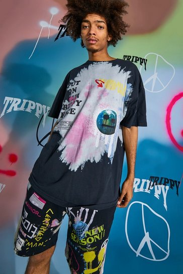 Black Oversized Drip Face Tie Dye T-shirt