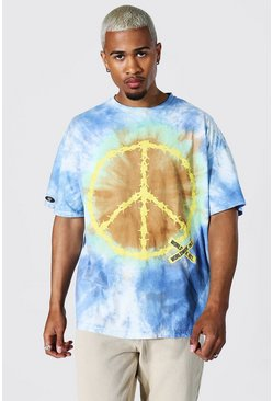 Blue Oversized Peace Tie Dye T-shirt