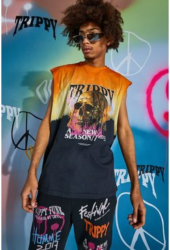 Orange Oversized Skull Tour Print Tie Dye Tank