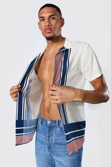 White Tall Short Sleeve Revere Stripe Shirt