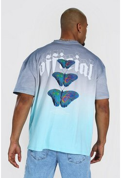 Oversized Ombre Butterfly Back Print T-shirt, Blue azzurro