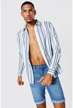 White Tall Long Sleeve Stripe Shirt