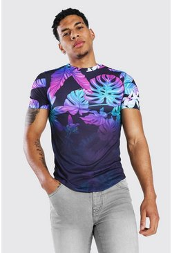 Blue Muscle Fit Man Signature Floral Ombre T-shirt