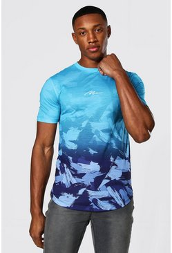 Blue Muscle Fit Man Signature Camo Ombre T-shirt