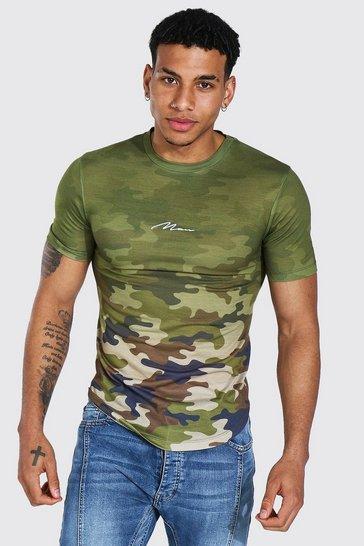 Khaki Muscle Fit Man Signature Camo Ombre T-shirt