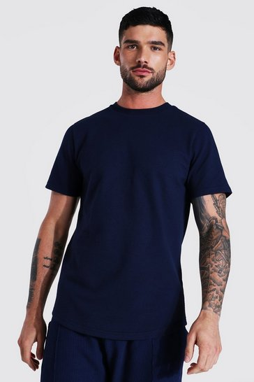 Navy Recycled Waffle T-Shirt With Curved Hem