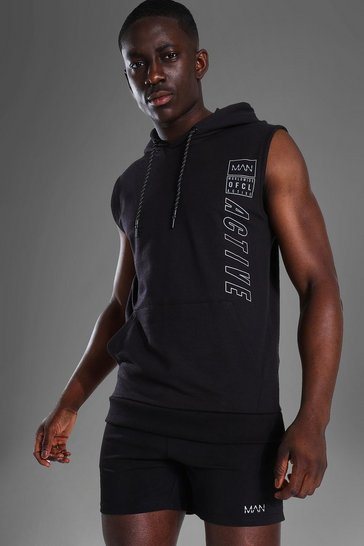 Black  Man Active Muscle Fit Sleeveless Hoodie