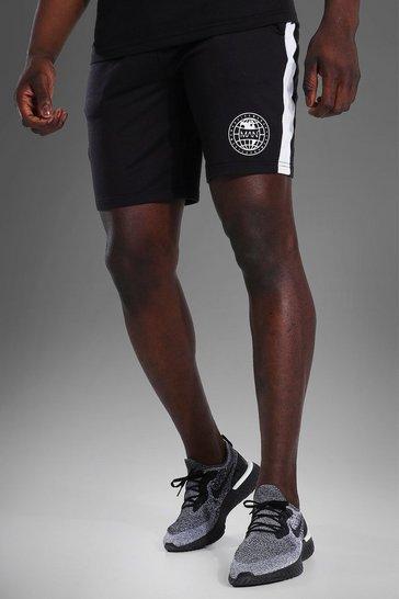 Black Man Active Loose Graphic Training Shorts