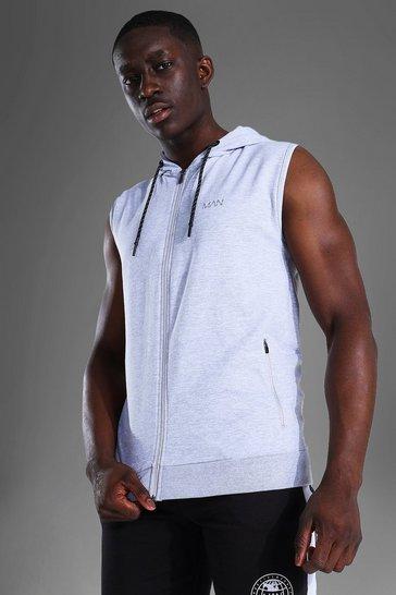 Grey Man Active Zip Through Sleeveless Hoodie