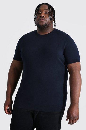 Navy Plus Basic Knitted T-shirt