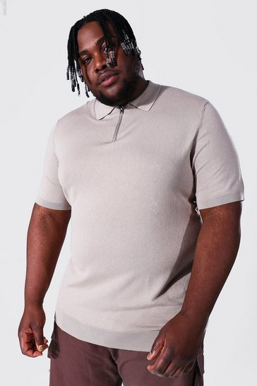 Taupe beige Plus Short Sleeve Half Zip Knitted Polo
