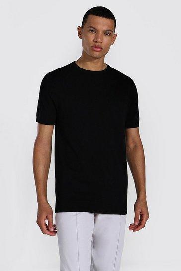 Black Tall Basic Knitted T-shirt
