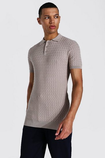 Taupe beige Tall Short Sleeve Muscle Fit Cable Knit Polo