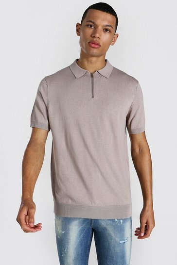 Taupe beige Tall Short Sleeve Half Zip Knitted Polo