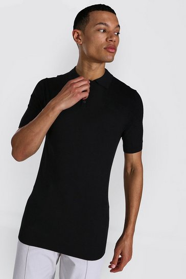 Black Tall Short Sleeve Muscle Fit Knitted Polo