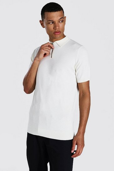 Cream white Tall Short Sleeve Half Zip Knitted Polo