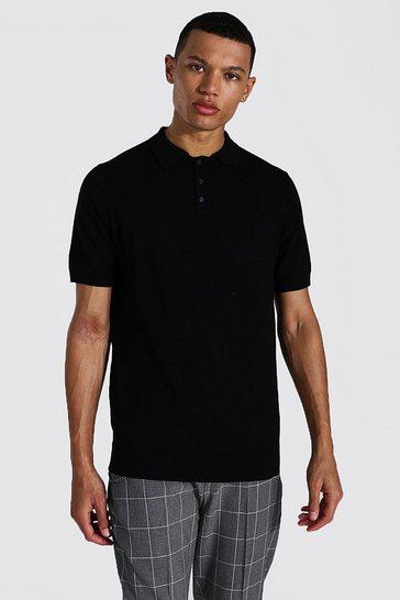 Black Tall Short Sleeve Regular Fit Knitted Polo