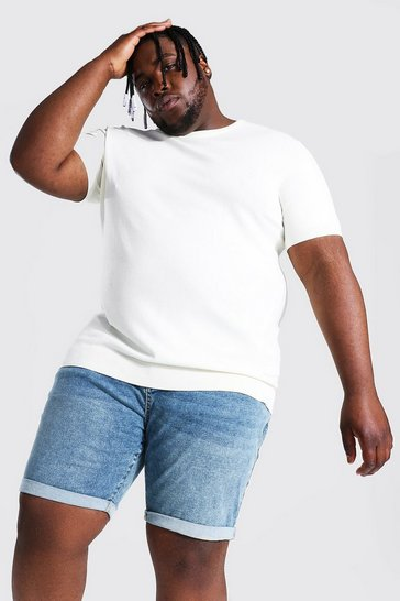 Cream white Plus Basic Knitted T-shirt