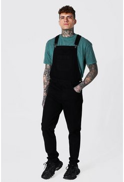 True black Slim Rigid Long Dungaree