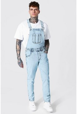 Ice blue Slim Rigid Long Dungaree