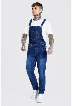 Mid blue blue Slim Rigid Long Dungaree