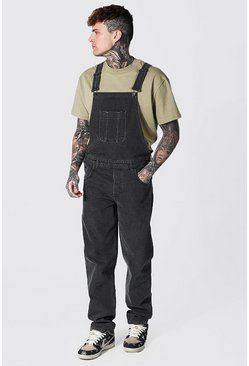Charcoal grey Relaxed Fit Long Dungaree