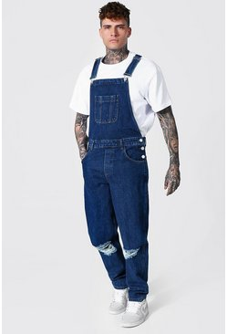 Mid blue blue Relaxed Fit Busted Knee Long Dungaree