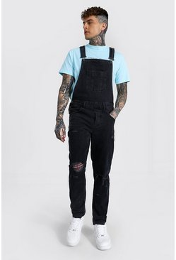 Washed black Slim Rigid Multi Rip Long Dungaree