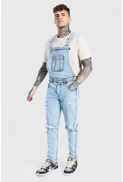 Ice blue Slim Rigid Multi Rip Long Dungaree