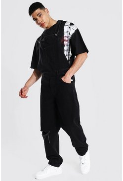 True black Relaxed Fit Busted Knee Frayed Hem Dungaree
