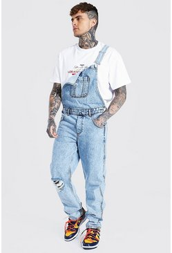 Ice blue Relaxed Fit Busted Knee Frayed Hem Dungaree