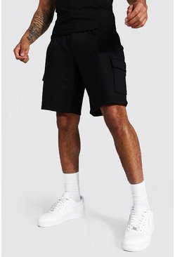 Basic Mid Length Loose Cargo Jersey Shorts, Black Чёрный