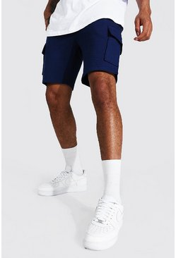 Navy Basic Mid Length Slim Cargo Shorts