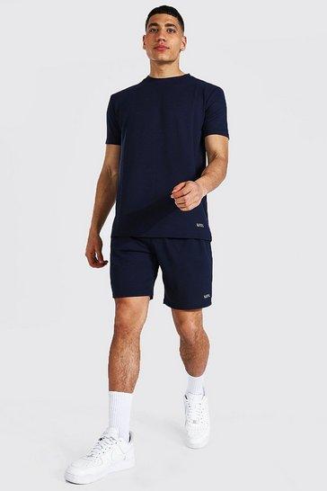 Navy Basic Flat Knit T-shirt And Short Set