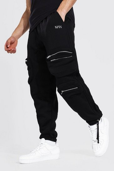 Black Oversized Pintuck Utility Cargo Joggers