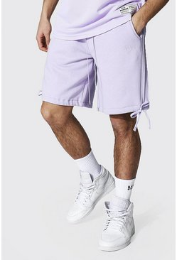 Lilac purple Loose Original Man Seam Detail Jersey Shorts