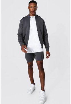 Charcoal grey Smart Knitted Bomber And Short Set