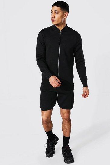 Black Smart Knitted Bomber And Short Set